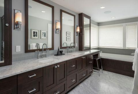 浴室咖啡色浴缸现代风格效果图