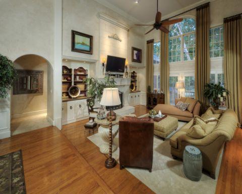 客厅咖啡色窗帘美式风格装饰效果图