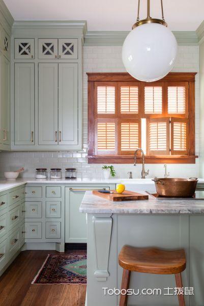 厨房美式风格效果图大全2017图片_土拨鼠清爽格调厨房美式风格装修设计效果图欣赏