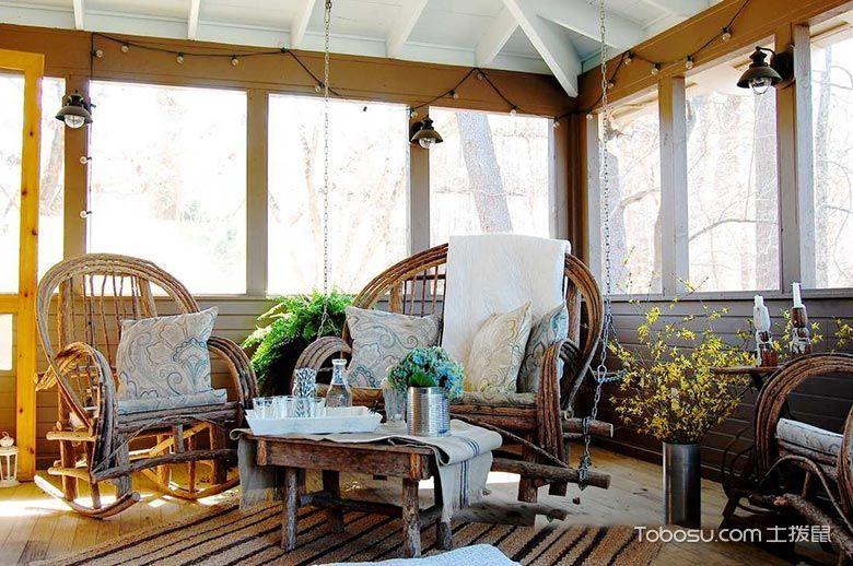 阳台白色沙发田园风格装饰效果图