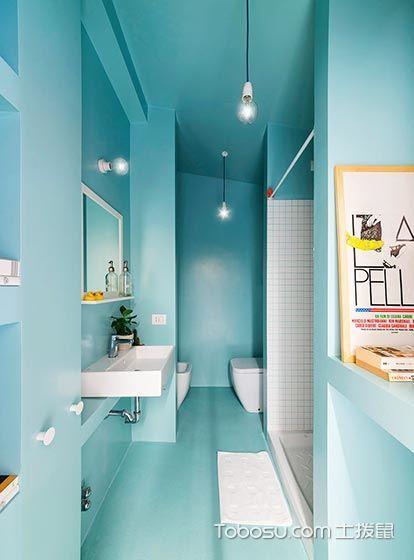 轻质淡雅  10个蓝白色卫生间装修效果图