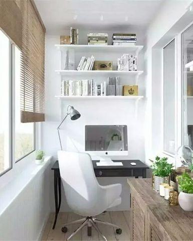 现代卧室阳台书桌案例图