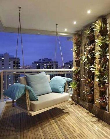 阳台蓝色沙发现代风格装饰设计图片