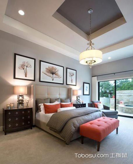 卧室灰色背景墙简约风格装修图片