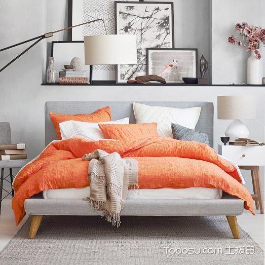 卧室灰色床简约风格装饰图片