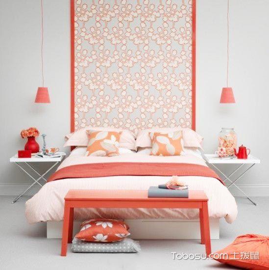 卧室橙色背景墙简约风格装饰设计图片