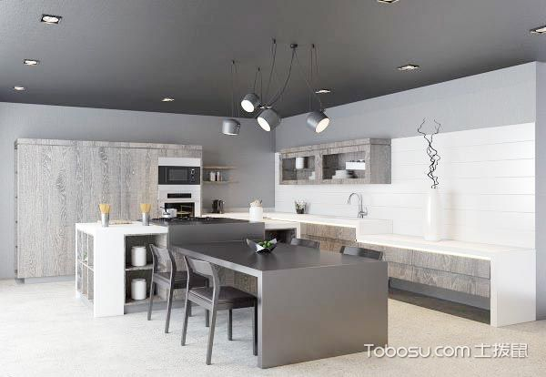 美食两面派  10个黑白色厨房装修效果图