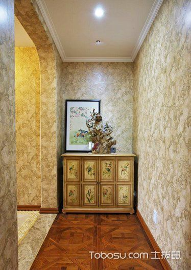 玄关咖啡色走廊田园风格装饰效果图