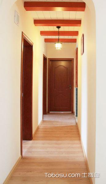 玄关黄色走廊田园风格装饰图片
