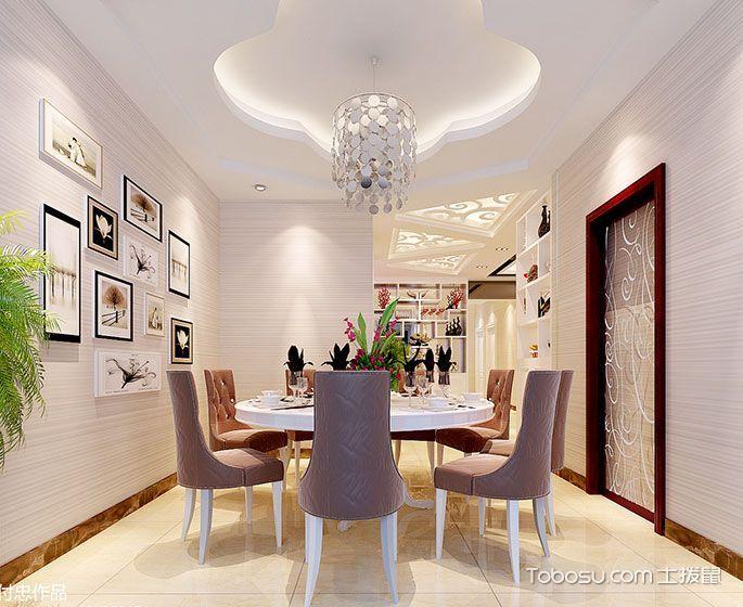 餐厅黄色地砖现代中式风格装修图片