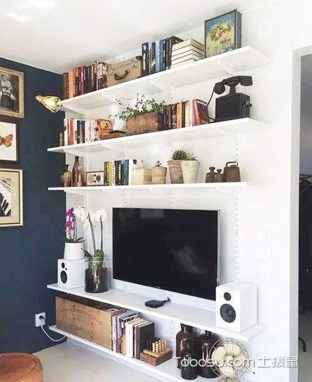 客厅白色电视背景墙混搭风格效果图