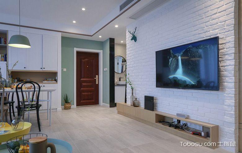 2019现代简约客厅装修设计 2019现代简约电视背景墙装修设计图片