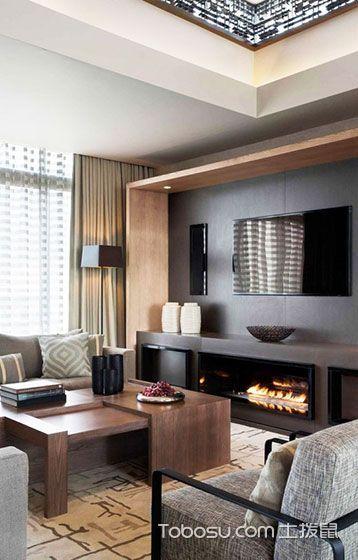 2019现代简约客厅装修设计 2019现代简约电视柜装修效果图片