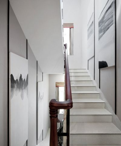 莊重白色樓梯設計方案