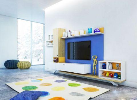 干净蓝色电视背景墙效果图图片