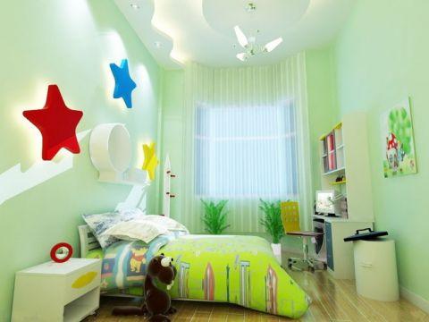 真实儿童房背景墙装饰实景图片
