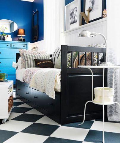 优雅黑色卧室单人床室内效果图