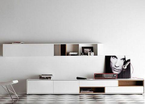 华丽现代简约白色电视柜案例图