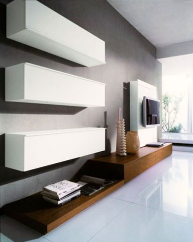 纯净白色电视柜装饰设计