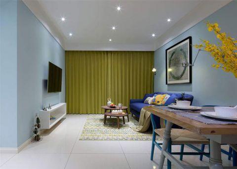混搭风格三居室82平米装潢图片
