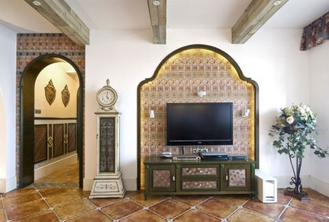 客厅电视背景墙地中海装修案例图片