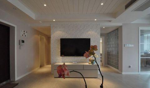 客厅电视背景墙北欧风格装饰图片