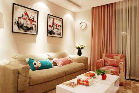 简欧客厅布艺沙发装修实景图片