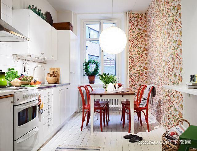 厨房红色餐桌混搭风格装修设计图片