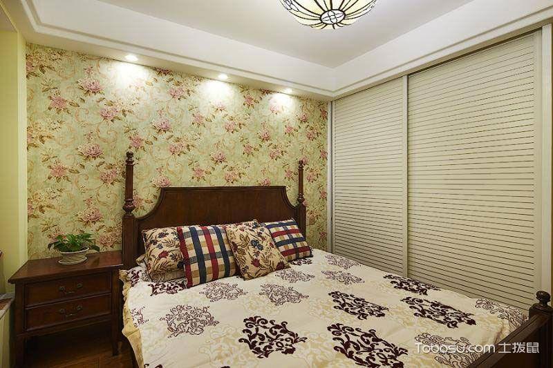 卧室咖啡色床田园风格装潢效果图