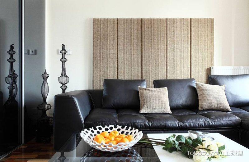 客厅黑色沙发现代简约风格装修效果图