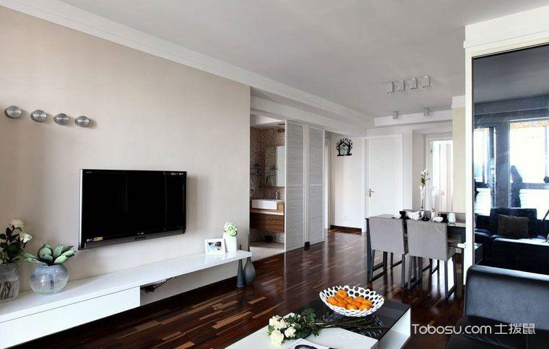 客厅咖啡色地砖现代简约风格装饰效果图