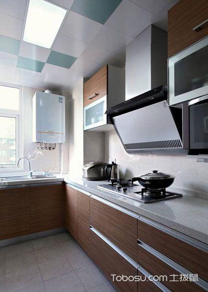 厨房咖啡色橱柜现代简约风格装修图片