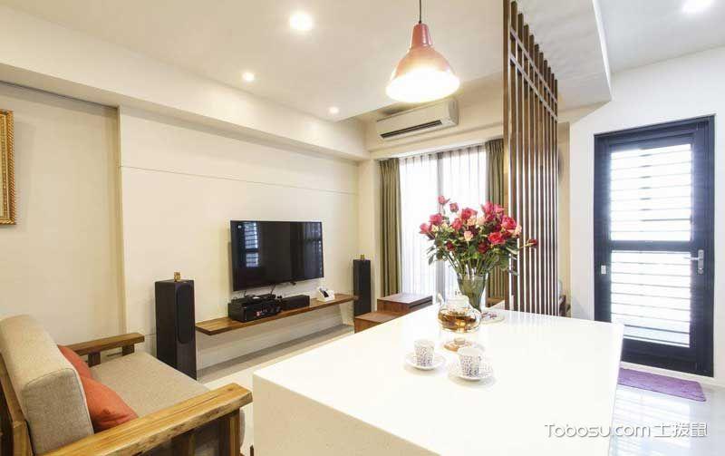 客厅黄色吧台日式风格装潢设计图片
