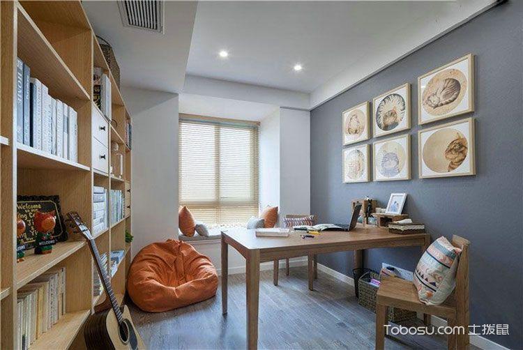 书房灰色背景墙日式风格装潢效果图