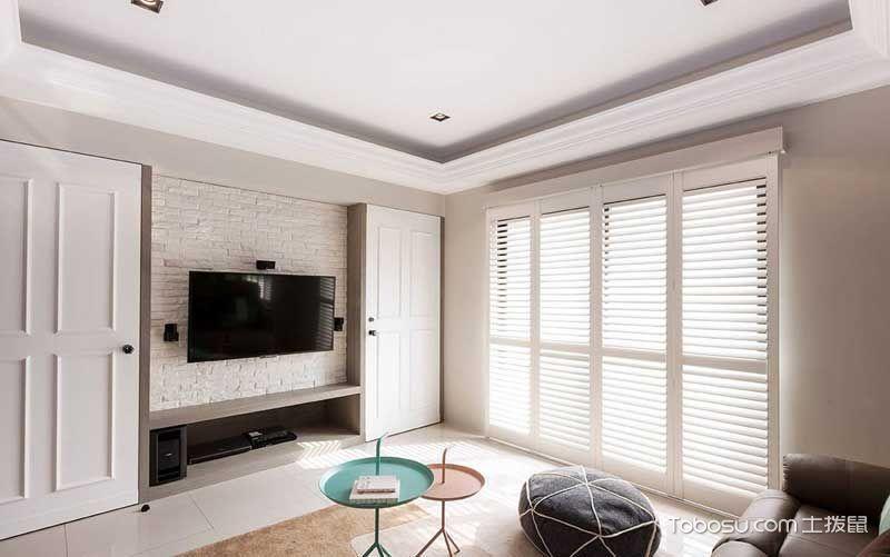 客厅白色电视背景墙美式风格装修效果图