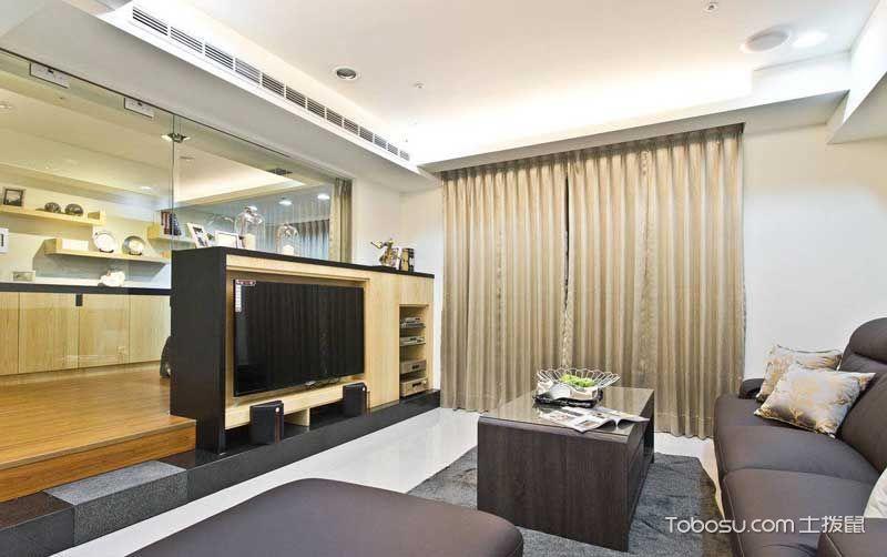 客厅黑色电视柜混搭风格装修图片