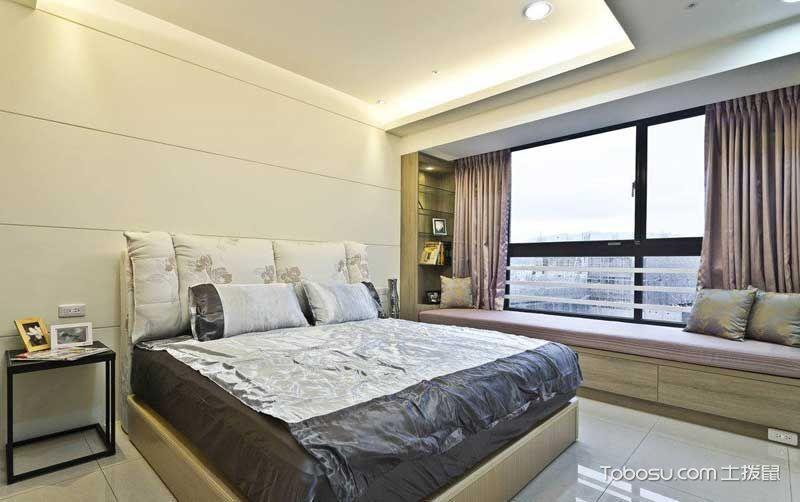 卧室米色床混搭风格装潢图片
