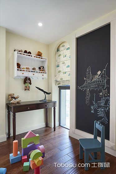 儿童房咖啡色地砖美式风格装修设计图片