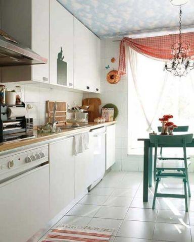 厨房白色一字型橱柜设计效果图
