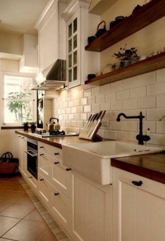 厨房一字型橱柜美式效果图