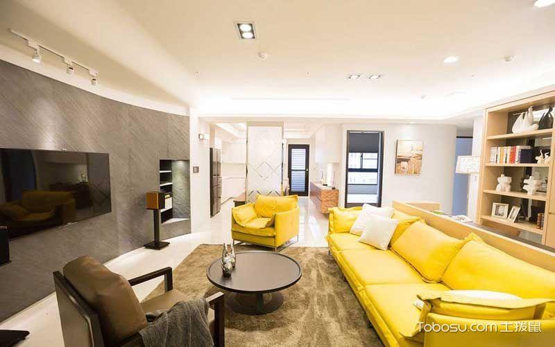 客厅黄色沙发北欧风格装潢图片