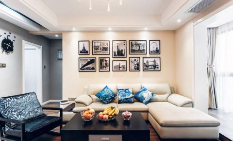 简欧风格三居室105平米装饰实景图