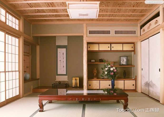2018日式起居室装修设计 2018日式茶几效果图
