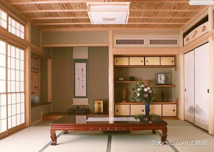 2019日式起居室装修设计 2019日式茶几效果图