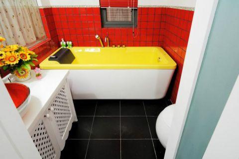 潮流田园黄色浴缸装修图片