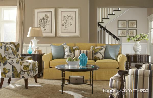 清新美式风 18张彩色沙发背景墙效果图