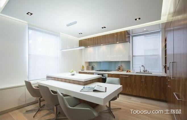 厨房咖啡色橱柜简约风格装潢图片