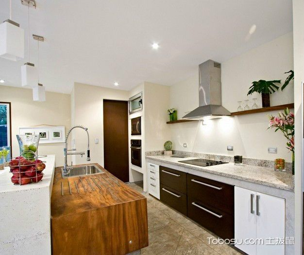 厨房黄色厨房岛台简约风格装潢效果图