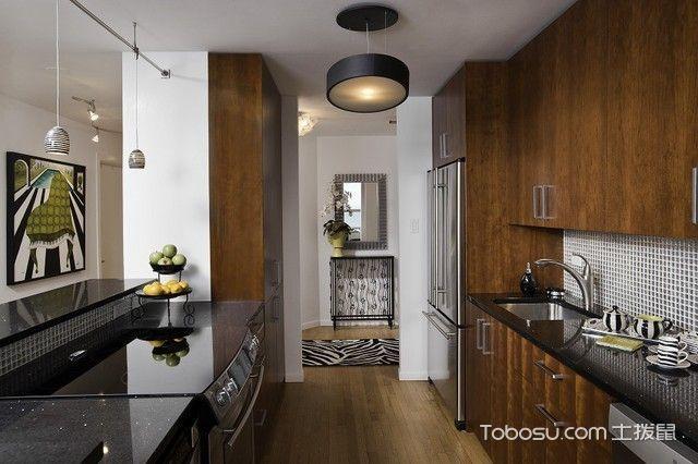 厨房咖啡色橱柜简约风格装修图片