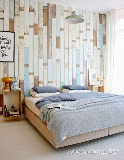 卧室彩色背景墙简约风格效果图